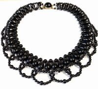 Vintage Black Ornate Bead Collar Necklace 17 Inches Long