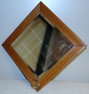 Antique beveled mirror coat rack Diamond shape oak wood hat hook