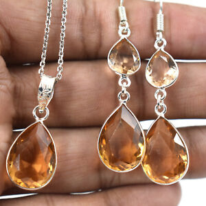 925 Sterling Silver Citrine Necklace Earrings Jewelry Set Valentine Gift ST-1016