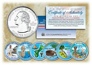 2009 COLORIZED US MINT TERRITORIES QUARTERS * Set of 6 Coins * with Capsules