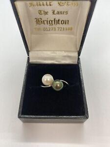 18k Black/white tahitian Pearl Ring