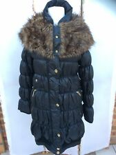 Lovely River Island Fur Trimmed Black Ruched Parka Coat - BNWOT