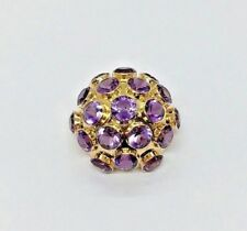 H.Stern Vintage 18k Yellow Gold Large Round Amethyst Sputnik Pin Brooch With Box