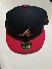 Atlanta Braves New Era 59FIFTY Fitted Hat Size 7 3/8 - Golden Finish