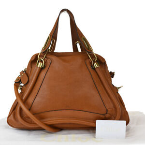 Authentic CHLOE Paraty 2Way Shoulder Hand Bag Leather Brown Italy 30JC296