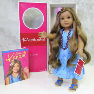 """American Girl 18"""" KANANI DOLL In MEET OUTFIT Necklace Barrette Shoes Book AG BOX"""