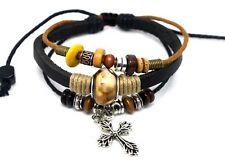 4030140 Leather Cross Bracelet Christian Jesus Religious Jewelry