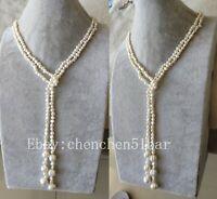 1 Strang echte kultivierte 4-5 mm weiße barocke Süßwasser Perlenkette 50 zoll