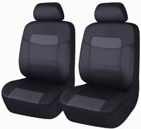 Black PU Leather 2 Front Car Seat Covers Universal Auto Seats Protector Pair