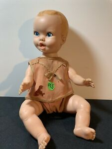 Vintage Gerber Baby Boy Doll Wearing A Girls World Outfit 1972? Blue Eyes Blonde