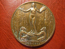 Art Deco Jean Honore Fragonard naked Painting woman medal Lucien Georges Bazor