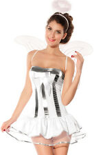 4 Piece Angel/Fairy Costume Satin Net Frilly Dress Wings Halo & Thong Size 10-12