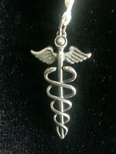 Caduceus Sterling Silver Pendant Charm Greek 925 Hermes Healing Alchemy Magic