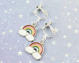 Rainbow Clip On Earrings, Girl's Clip Ons, Non Pierced Or Pierced Ears Options