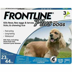 SALE! NEW Frontline Plus FLEA & TICK TREATMENT Dogs 23 - 44 lbs Medium 3 Doses!