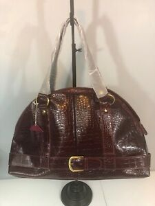 Half Circle Half Moon Purse Burgundy Shoulder Bag Faux Crocodile Leather NEW