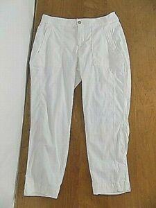 Athleta Women's Sport Nylon Stretch Crop Capri Pants Sz 10 White Skinny Tapered