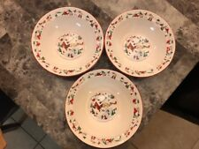 "3 Farberware White Christmas Katherine Babonovsky 7"" Soup Cereal Bowls SET of 3"