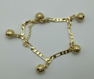 New 9CT Gold filled Charm Anklet , Rattle Charm and Greek Key Design P1