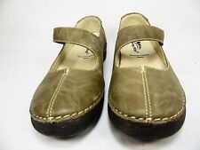 Spring Step Debutante Leather Mary Janes Olive Size 38(US:7.5-8)