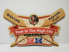 MILLER REEL IN THE HIGH LIFE FISHING Metal Beer Sign Tin Tacker Girl in the Moon
