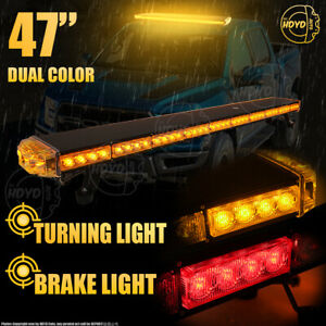 "86LED 47"" Strobe Light Bar Emergency Beacon Warn Tow Truck Response Amber White"
