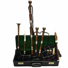 Bagpipe Rosewood Silver Mounts Scottish Highland Natural Colour with Hard Case