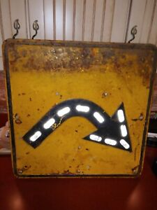 Antique heavy Traffic Sign with reflectors sharp turn embossed man cave garage