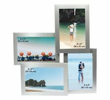 "Multi Aperture Collage 4 Picture Silver Photo Frame 6 x 4"" Christmas Xmas Gift"