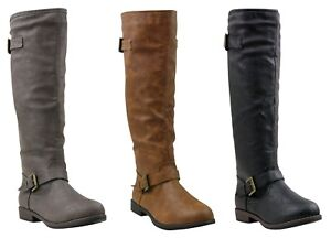 NEW Women Faux Leather Flat MOTO Color Zip Up Tall Knee High Riding Winter Boots
