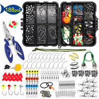 188Pcs/Set  Fishing Accessories Kit set with Tackle Box Pliers Jig Hooks Swivels