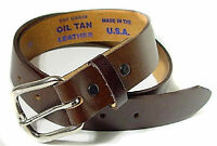 "1043 -MADE IN USA, BLACK, BROWN OR BOTH 1.25"" WIDE OIL TAN LEATHER BELT, TO 60"""