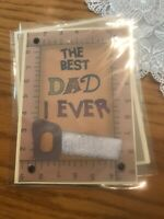 Fathers Day Card Glittered Saw Measuring Stick. Cute Verse Handmade