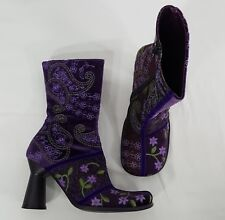 IXOS Mod Go Go BOOTS Size 36.5 Velvet Satin Wool Purple Paisley Embroidered