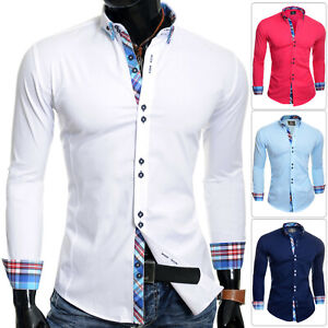 Mens Italian Design Shirt Casual Formal Classic Collar Slim Fit White Blue Pink