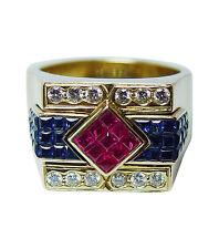 Vintage Man Ruby Sapphire Diamond Ring 18K Gold 30gr Heavy GIA  Estate