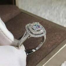 Engagement Ring 14k White Gold Over 2.60 Ct Round Moissanite Double Halo Wedding