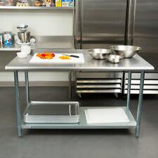 30'x60' Stainless Steel Kitchen Prep/Work Table w/Undershelf&2 Rear Upturn