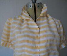Vintage 40s white + caramel stripe Organza short sleeve lace blouse sz MED