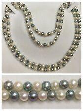 Collana di perle lunga due colori senza chiusura collier accessori con 120 cm