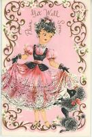 VINTAGE PRETTY GIRL PINK FANCY DRESS BLACK FRENCH POODLE GET WELL CARD ART PRINT