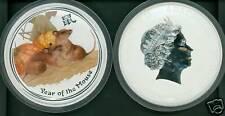 2008 $30 Lunar Rat Mouse 1 Kilo Colorized Silver Bullion Coin Pristine Untouched