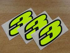 Juego De 3-Black & Fluorescente Amarillo número 3 calcomanías / Stickers impacto 60mm