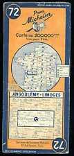 carte MICHELIN   no  72  ANGOULEME  LIMOGES   année 50
