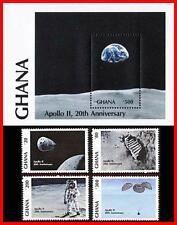Ghana 1989 Apollo 11 Space/Astronomy + S/S Sc#1158-62 Mnh * Cv$9.00 Neuf