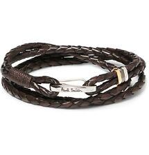 Paul Smith Bracelet -BNWT Men's Brown Plait Woven Leather Wrap Wristband RRP:£99
