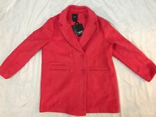 BNWT WOMENS NEXT OUTERWEAR TAILORED BOUCLE CORAL PINK BUTTON UP COAT SIZE 18