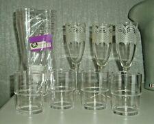 ACRYLIC & PLASTIC GLASSES x 17 - FLUTES BNIP & USED / TUMBLERS USED