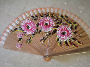 Spain Flamenco Hand Fan Case Fan Folding Fan Wooden C Natural