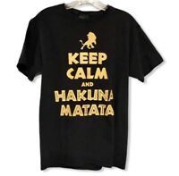 Disney Lion King Keep Calm T Shirt Junior Small Black Gold